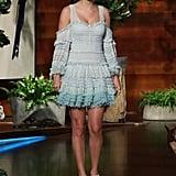 Taylor Swift Wearing a Blue Ombré Jonathan Simkhai Dress on The Ellen Show