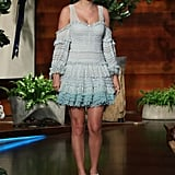 Taylor Swift Wearing a Blue Ombré Jonathan Simkhai Dress on The Ellen Show