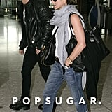 Jennifer and Justin held hands and wore matching aviator sunglasses at the airport after attending Jen's London premiere of Horrible Bosses in July 2011.