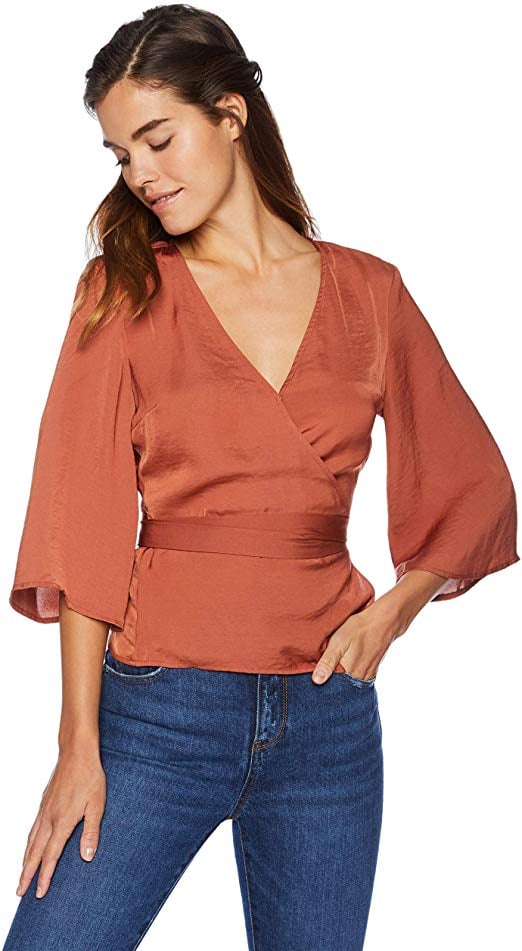 Cupcakes and Cashmere Gabriele Satin Wrap Blouse