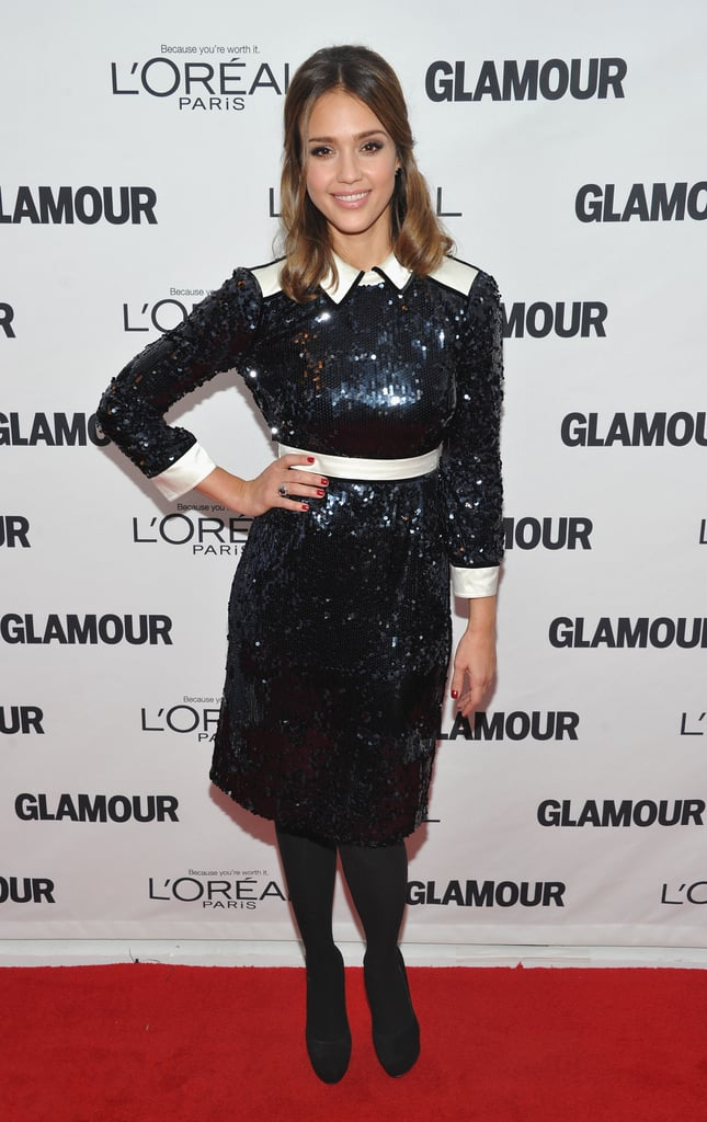 Jessica Alba's take is equal parts sweet and sassy in a cheeky white and black sequined sheath by Tory Burch.