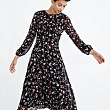 Sheer-Sleeve Midi Dress