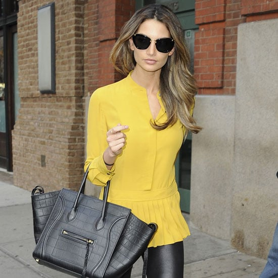 Lily Aldridge Wearing Pleated Yellow Top