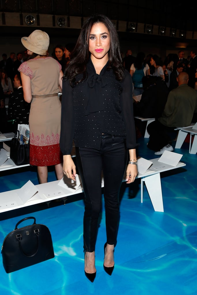 She switched things up a little by wearing a black pantsuit to the Tory Burch fashion show in September 2013.