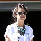 Leandra Medine showed off quirky printed shades and major Dannijo jewels. Source: Greg Kessler