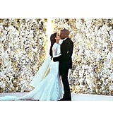 Kim and Kanye kissed on their wedding day in Florence, Italy, in May 2014.
