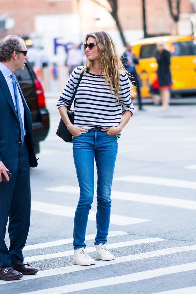 Gisele Bundchen Wearing Striped Shirt and Jeans