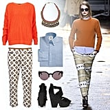We love the mix of prints and brights in this look from the 3.1 Phillip Lim Fall collection — and it's insanely easy to replicate. Start with a pair of printed ankle-length pants, and layer up with a blue button-down shirt and bold orange sweater. Make sure to keep the bottom of the blouse visible for a cool menswear-inspired vibe. Accessorize with a fun statement necklace (under the collar!), sunglasses, and a great pair of heels.  Shop this look:  Topshop Textured Knit Sweater ($72) Nocturne Bow Collar Necklace ($178) Brooks Brothers Button-Down Oxford Shirt ($195) C. Wonder Round Vintage Sunglasses ($68) Topshop Lanie Cutout Platforms ($120) Ter et Bantine Cropped Trousers ($545)