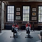 The old station's gym was renovated into a large, airy space for exercise.