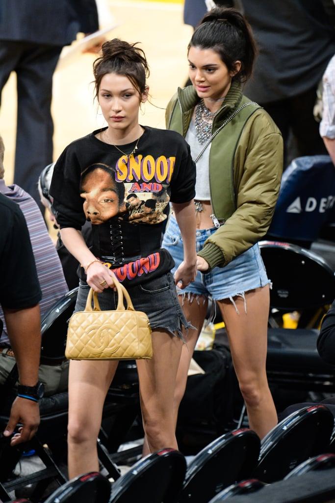 Kendall Jenner and Bella Hadid at Lakers Game November 2016