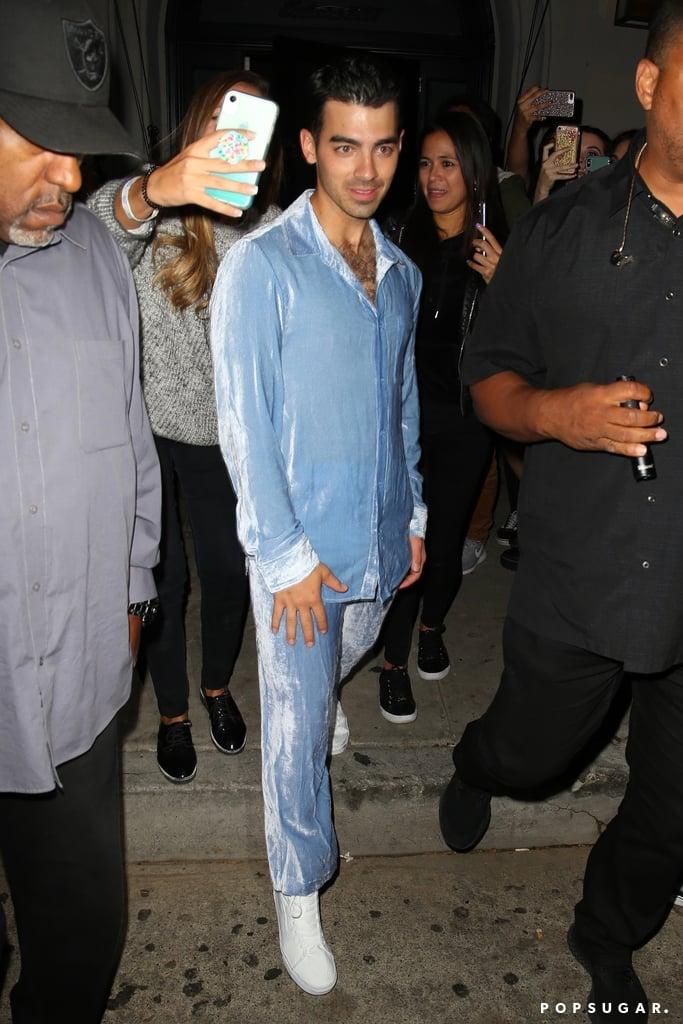 Joe Jonas Wearing a Blue Corduroy Suit at Craig's in West Hollywood