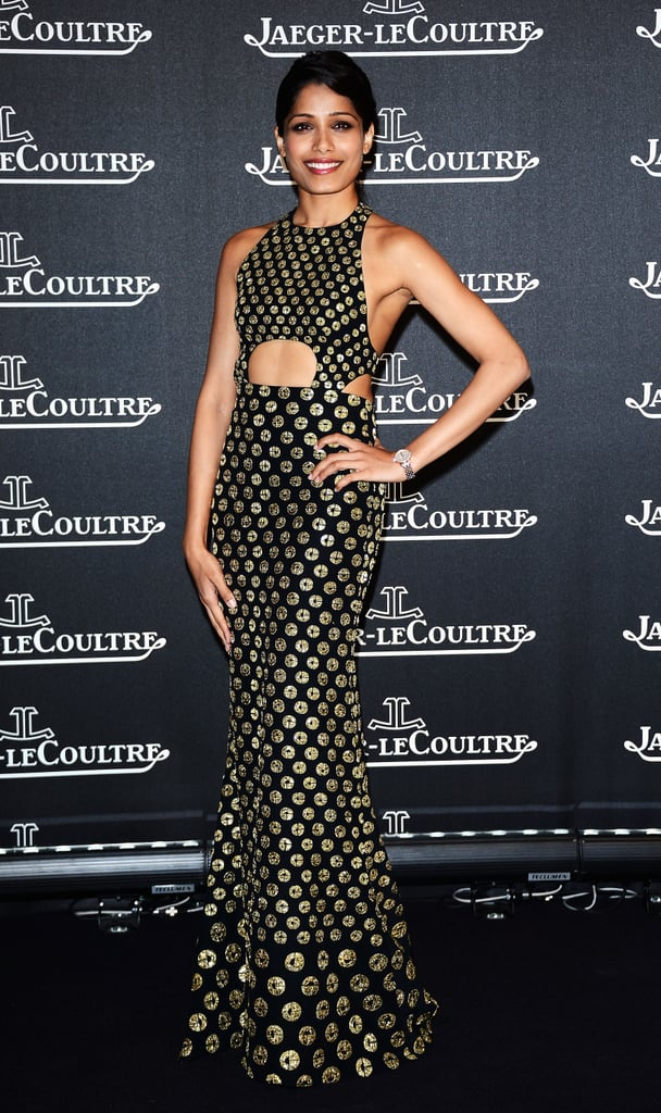 Freida Pinto wore a black-and-gold gown for the Jaeger-LeCoultre party in Venice.