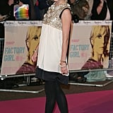 Sienna dazzled at the 2007 London premiere of Factory Girl in an embellished minidress, opaque black tights, and coordinating pumps.