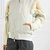 Sacai Shell Cable-Knit Wool-Blend and Faux Fur Bomber Jacket
