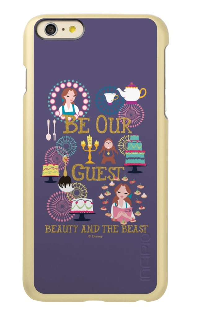 """<product href=""""https://www.zazzle.com/belle_be_our_our_guest_beauty_and_the_beast_incipio_feather_shine_iphone_6_plus_case-256380425075910049"""">Be Our Guest</product> ($53)"""