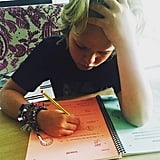 "Gwyneth shared a cute photo of her son in August 2015, writing, ""Summer math face #homestretch."""