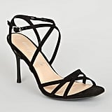 New Look Black Strappy Square Toe Heels