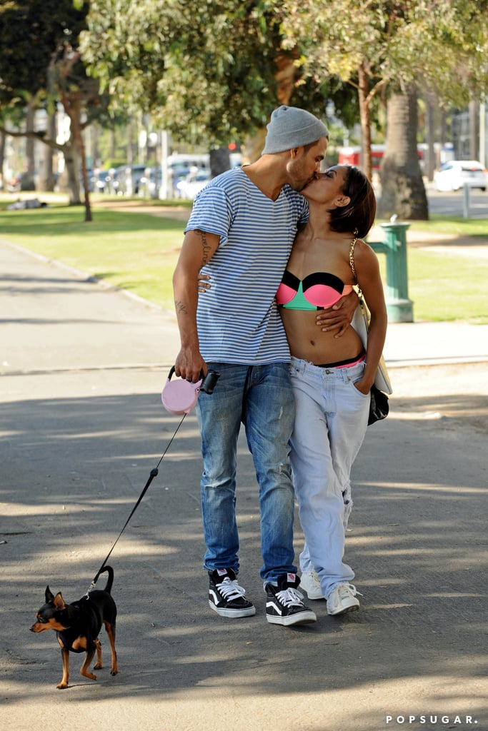Kat Graham and Cottrell Guidry showed PDA by the beach.