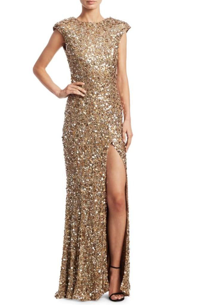 Rachel Gilbert Seraphina Sequin Gown | Miley Cyrus Gold Sequin Dress ...
