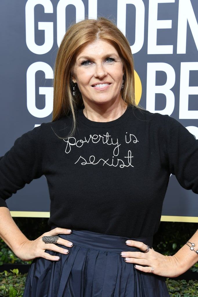 """Connie Britton """"Poverty Is Sexist"""" Sweater at Golden Globes"""