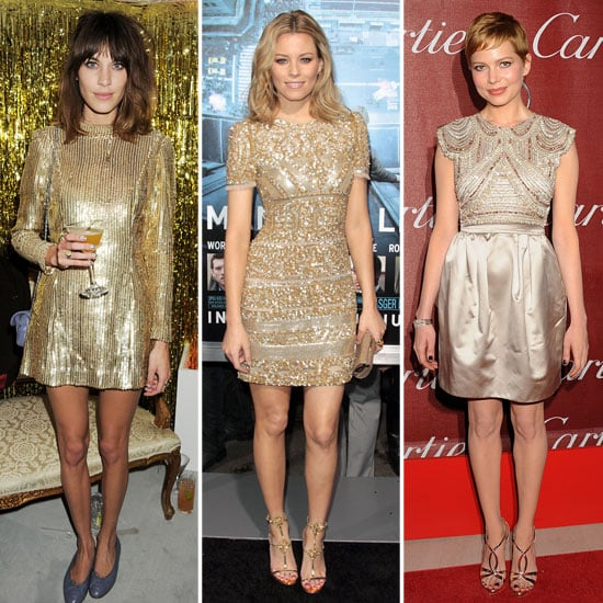 While a bit of gold glitz usually denotes formality, we think these cocktail dresses showed us a different side of the metallic mentality. Alexa Chung impressed in a long-sleeved mini, Michelle Williams opted for a sweetly embellished cap-sleeved version, and Elizabeth Banks went for bold sparkle. It's a playful way to dress up your date-night outfit and in a standout hue, no less. From left to right: Alexa Chung in vintage, Elizabeth Banks in Emilio Pucci, and Michelle Williams in Miu Miu
