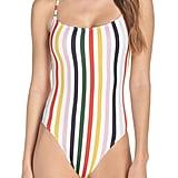 J.Crew Holiday Stripe Tie Back One-Piece Swimsuit