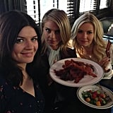 """Guest star Andy Richter had a """"bacon party"""" with the ladies of Happy Endings. Source: Twitter user AndyRichter"""