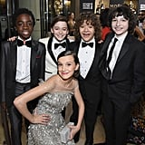 The cast of Stranger Things dressed to the nines for their first Golden Globes ceremony in 2017.