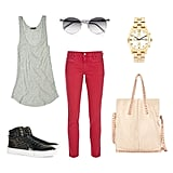 This styled upgrade on our weekend wear is sure to turn some heads. All you need is a cool pair of kicks to dress up a slouchy tank. Toss a great tote with some studded hardware over your shoulder and you're out the door. Get the look:  MIH Paris Cropped Mid-Rise Skinny Jeans ($185) Club Monaco Tricia Scoopneck Tank ($46) Yves Saint Laurent Studded Suede and Patent-Leather High Top ($695) Prism Prism Paris Round-Frame Acetate Sunglasses ($405) Marc by Marc Jacobs Gold Chronograph Bracelet Watch ($348) Zara Soft Shopper With Tacks ($159)