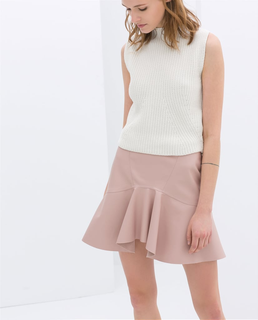 Zara Frilly Faux Leather Skirt ($50)