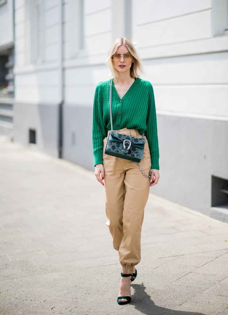 Let the shade of your cardigan determine all your accessories, and wear it with neutral, khaki-colored pants or jeans.