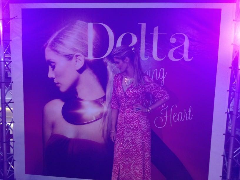 Delta Goodrem posed next to a massive poster of herself. Source: Twitter user delta_goodrem