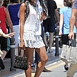 Naomi Campbell vacationed in Marbella in a little white dress and flip-flops.