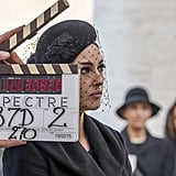 Monica Bellucci on the Rome set.