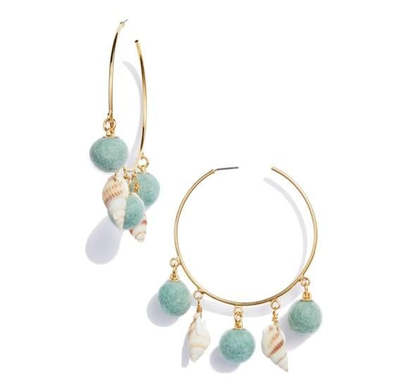 Ariel: Wild and Woody Shell and Pom Hoops
