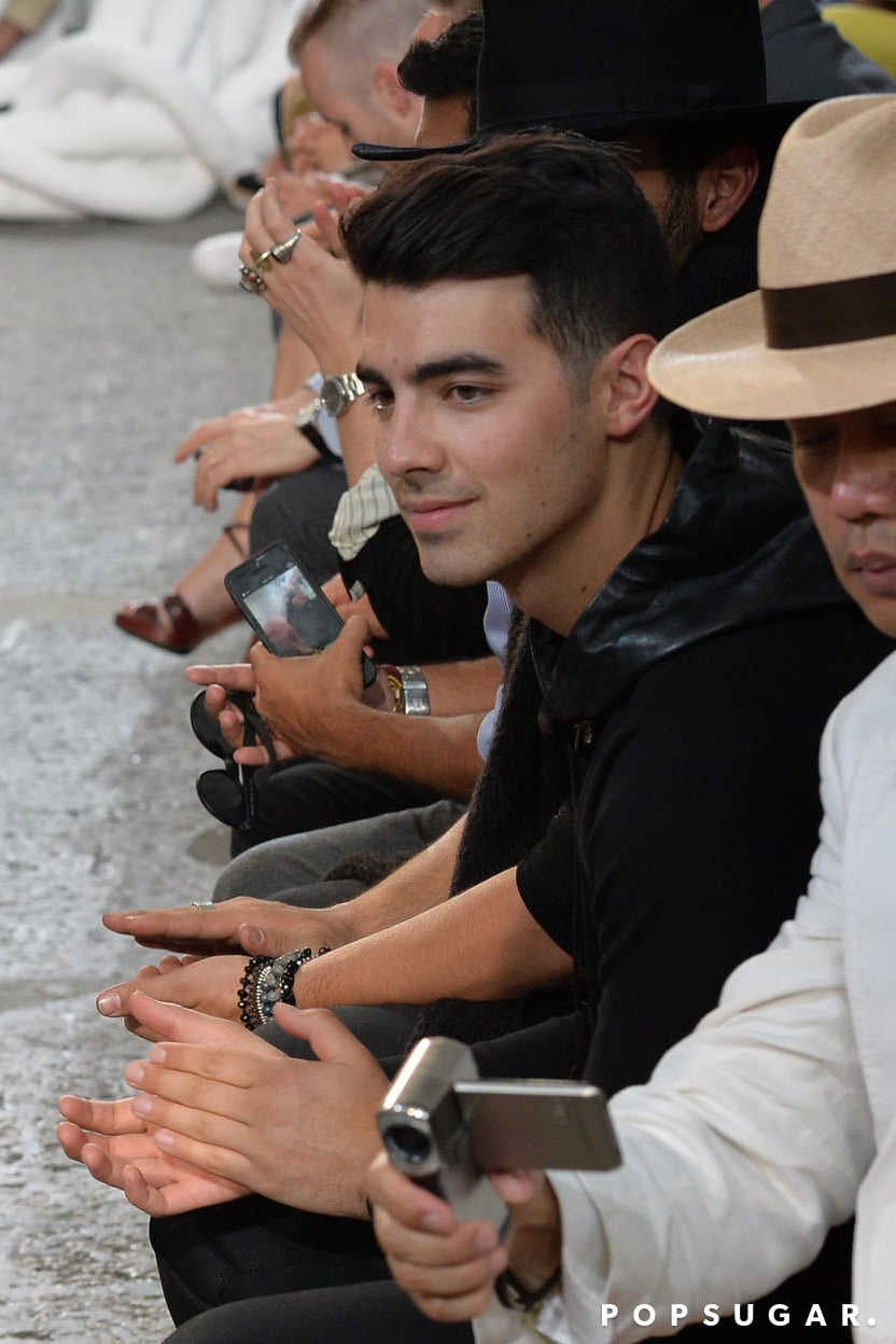 Joe Jonas sat in the front row at the John Varvatos fashion show in Milan, Italy, on Saturday.