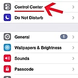 First, open Settings and select Control Center.