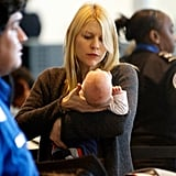 Claire Danes was careful with baby Cyrus Dancy at LAX.