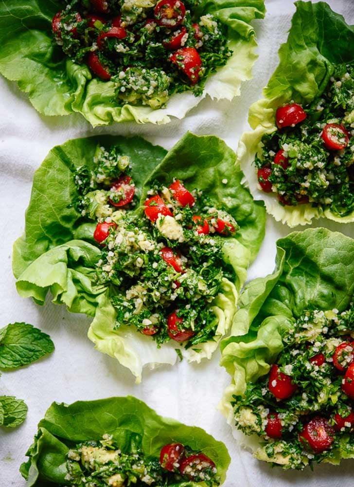 Avocado Tabbouleh Lettuce Wraps