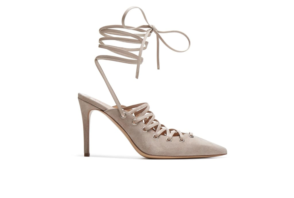 M.Gemi's Corsetto shoe ($298) is quite possibly the sexiest heel we've seen in awhile and is offered in neutral shades.
