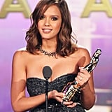 Jessica Alba on stage at the ALMA Awards.