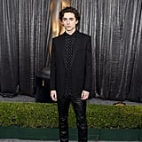 Timothée attended the 2019 Screen Actors Guild Awards in a polka-dot button-up, blazer, and leather trousers by Celine.