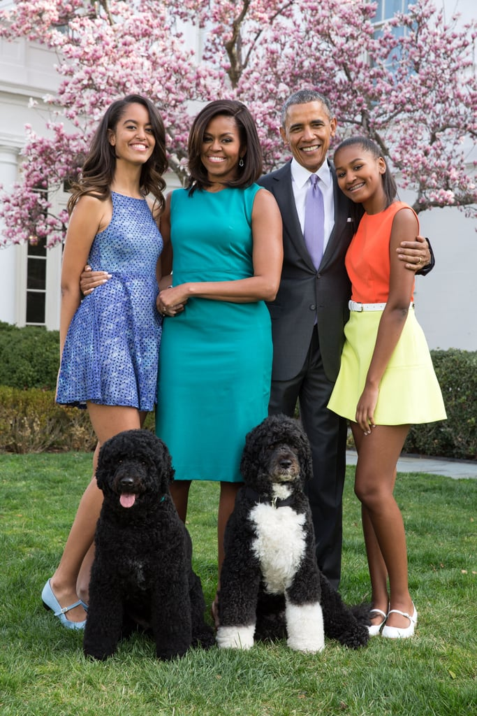 """While campaigning to be president, Barack Obama made a serious, binding agreement with his young daughters, Sasha and Malia: if he won the election, he'd buy them a dog. Luckily for them (and us), it happened. During his victory speech in 2008, he conceded that they'd """"earned the new puppy that's coming with us to the White House,"""" and they were soon gifted with a Portuguese Water Dog by Senator Edward M. Kennedy, who owns several dogs of the same breed himself. They named him Bo and ended up adopting his nearly identical sister Sunny in 2013.  The playful dogs have popped up in plenty of photos with Barack, Michelle, Sasha, and Malia over the years, whether tugging their owners across the lawn during walks or casually leading the president through a Petco. In honor of their last few days in the White House, we've rounded up the family's most touching moments with their beloved pets.      Related:                                                                                                           The Obama Girls Have Grown Up Before Our Eyes"""