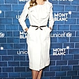 Hilary Swank went for a white frock.