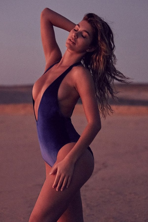Out From Under Plunging V Velvet One-Piece Swimsuit
