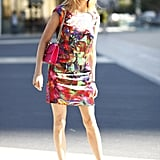 Don't fear bold color; this little watercolor-print sheath was a standout, especially with a bold little pop of pink to match. Source: Greg Kessler