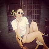 Emmy Rossum struck a summery pose (complete with heart-shaped shades) on the set of her latest movie, Comet. Source: Instagram user emmyrossum