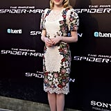 She chose a floral-embroidered Dolce & Gabbana sheath and nude pointy-toe pumps for the Madrid premiere of The Amazing Spider-Man.