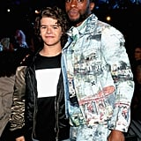 Gaten Matarazzo and Chadwick Boseman