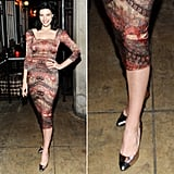Mad Men's Jessica Paré picked a pair of metallic silver cap-toe pumps to jazz up her printed square-neck dress at an LA Confidential party in Los Angeles.